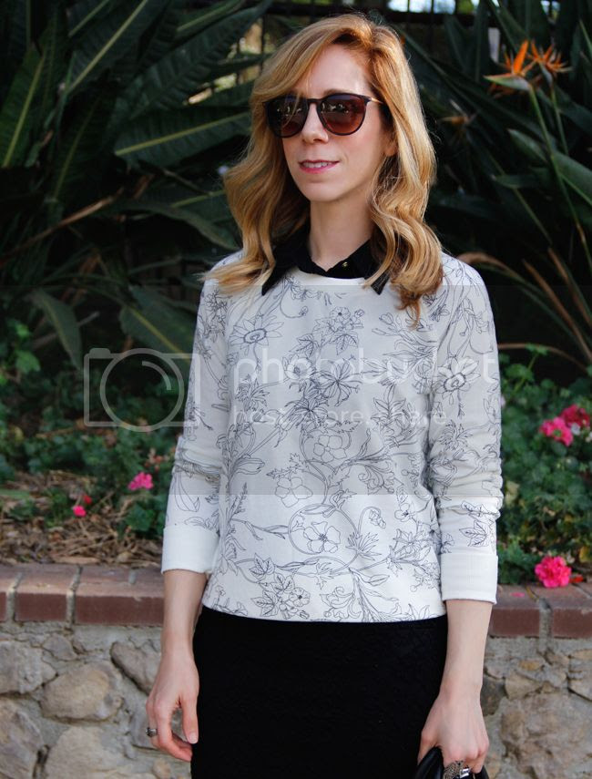 Old Navy black and white floral sweatshirt, Forever 21 lace pencil skirt, and Phillip Lim for Target mini satchel