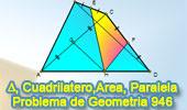 Problema de Geometría 946 (English ESL): Cuadrilatero, Area, Diagonal, Punto Medios, Paralelas