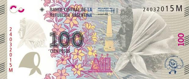 Cédula de 100 pesos argentinos ganhou versão em homenagem às Mães e Avós da Plaza de Mayo (Foto: Divulgação/Casa de Moneda)