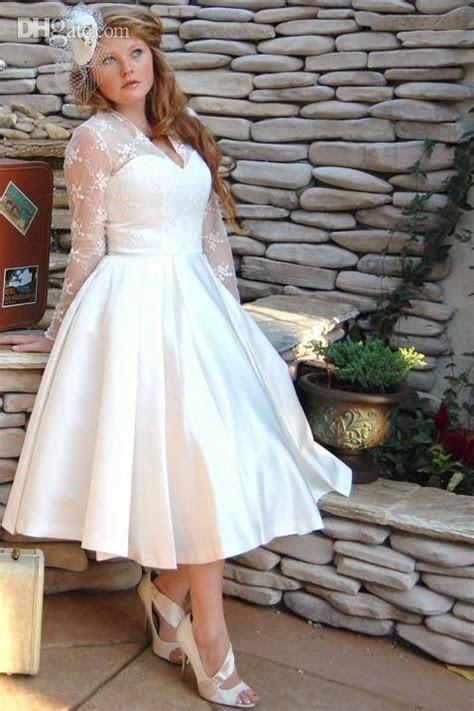 Vintage Style Long Sleeve Tea Length Lace Plus Size
