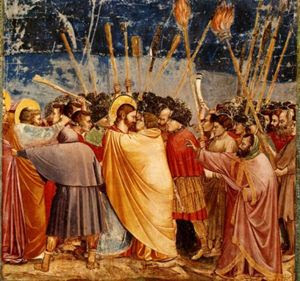 Giotto, Il bacio di Giuda (Cappella degli Scrovegni, Padova, 1303)