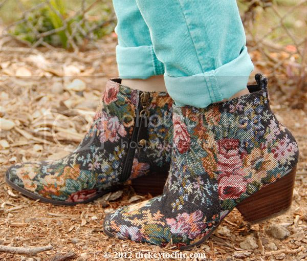 Topshop adios floral boots, tapestry print boots