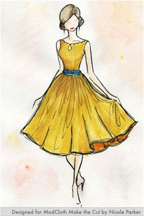 Drawn women dress   Pencil and in color drawn women dress