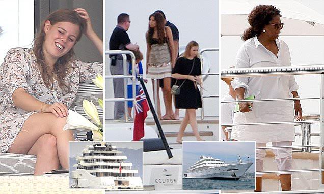 Princess Beatrice joins Oprah Winfrey on mega-yacht off Ibiza coast
