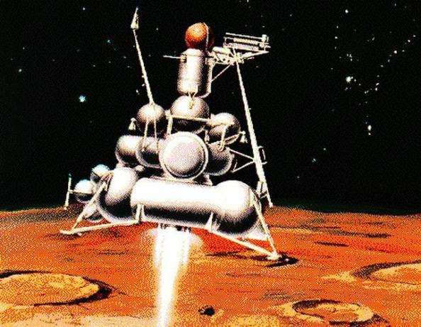 Καλλιτεχνική άποψη της προσσελήνωσης του Luna-24, το 1976