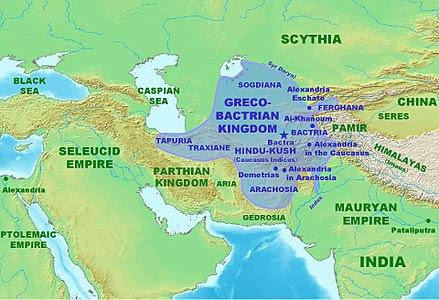 Une carte de l'Asie centrale avec indiqués les trois royaumes séleucide, parthe et gréco-bactrien