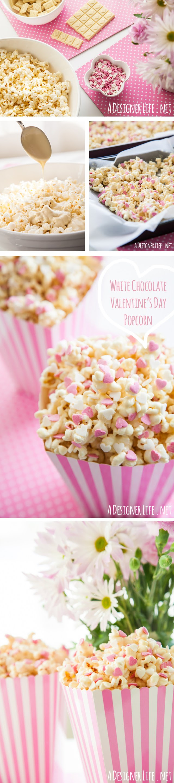 Beyaz Çikolatalı Kalp Sprinkles ile Sevgililer Günü Popcorn!  Son dakika Sevgililer Günü tarifi fikirler