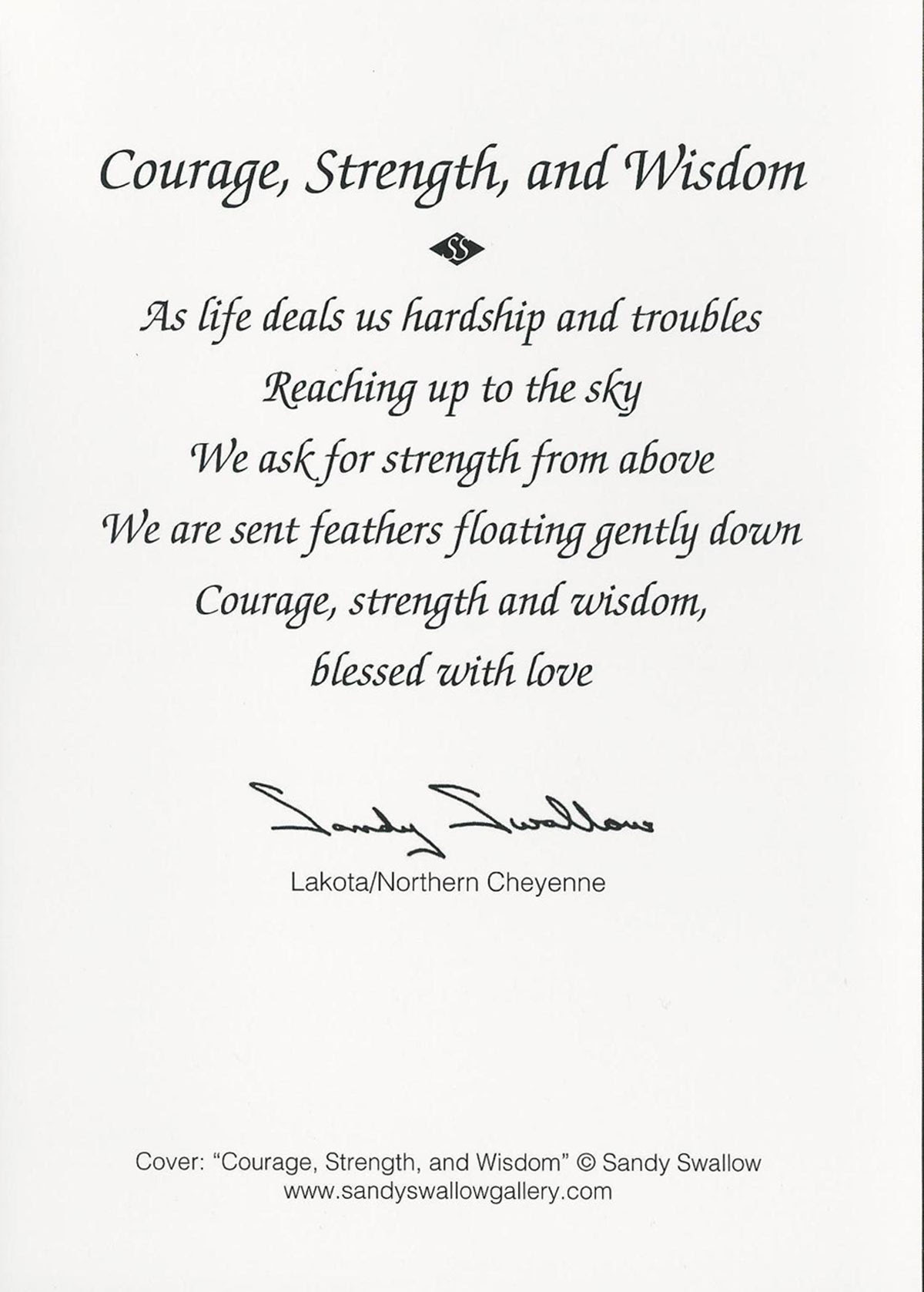 Courage Strength And Wisdom Note Card Sandy Swallow