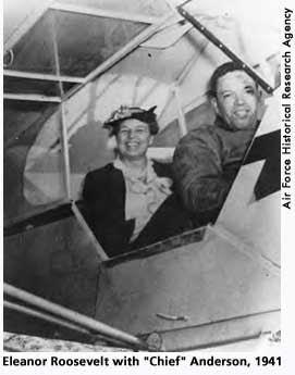 First Lady Eleanor Roosevelt and Tuskeegee Airman, Charles Alfred Anderson, the first African American to earn a U.S. pilot's license