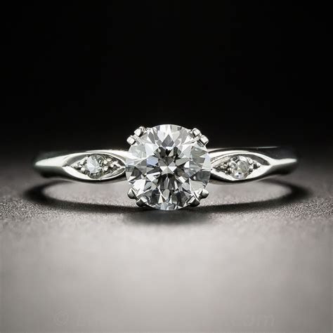 Platinum .78 Carat Estate Diamond Engagement Ring   GIA E VS2
