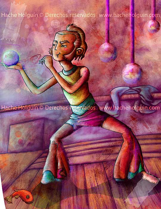 Ilustración sobre el circo, por Hache Holguín
