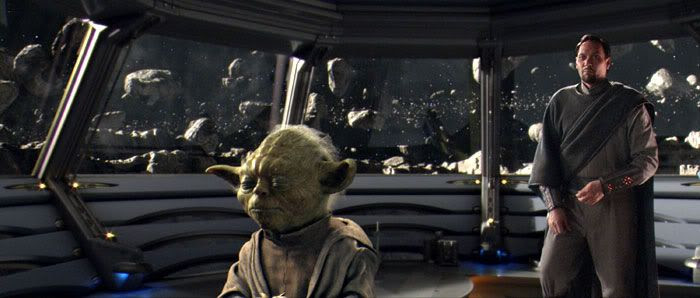 Bail Organa and Yoda confer in an observation room of the Polis Massan medical facility.