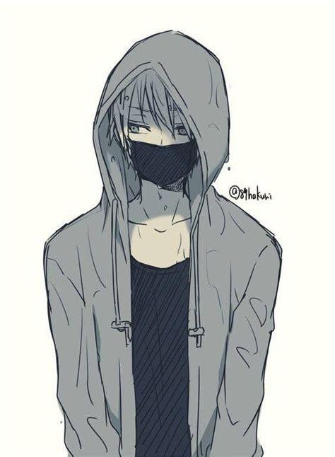anime guy art casual mask hoodie   cute