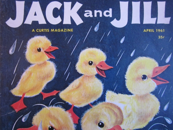 Vintage April 1961 Issue of Jack and Jill Magazine with Baby Ducks Singing in the Rain, Beatrix Potter story, Bunnies and Easter Eggs. $7.00, via Etsy.