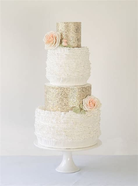 Abigail Bloom cake   white ruffles, gold edible sequins