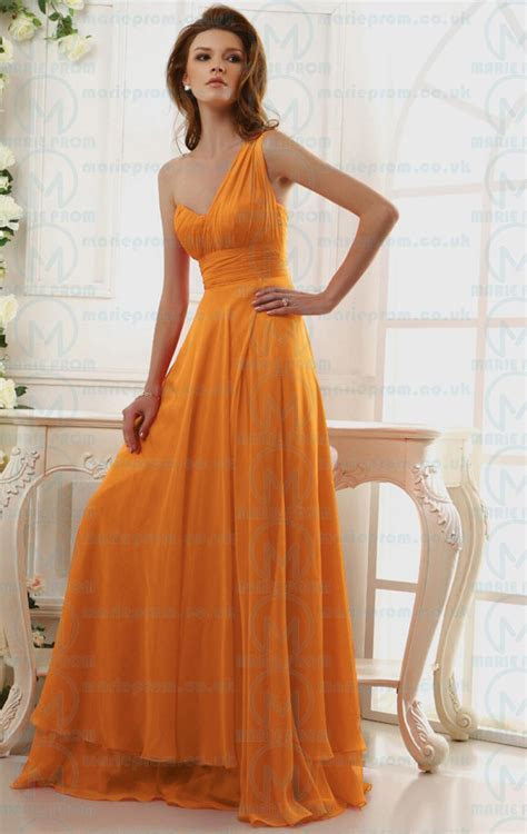 Cheap Long Orange Tailor Made Evening Prom Dress