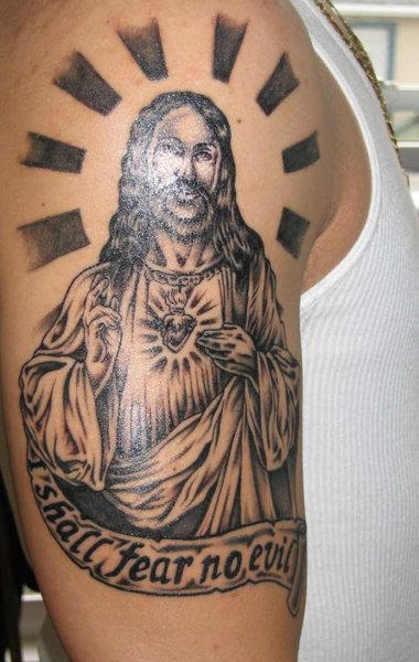 Winsome Jesus Tattoo On Shoulder