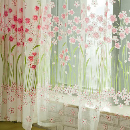 Cute and Sweet Girls Room Flower Printed Eco-friendly Curtains ...