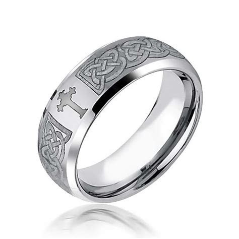 Mens Celtic Cross Infinity Knot Tungsten Comfort Fit