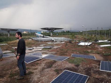 """Ανυπολόγιστη καταστροφή στην Αργολίδα – Χαλάζι και καταιγίδες """"σάρωσαν"""" φωτοβολταϊκά και καλλιέργειες [pics, vid]"""