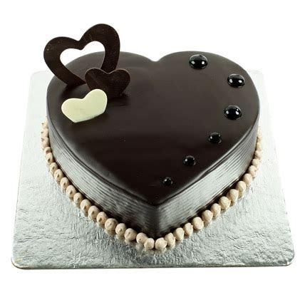 Buy online dark chocolate heart shaped cake in Noida