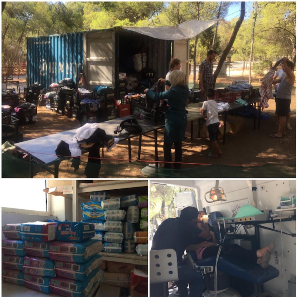 Distribución diaria de ropa, pañales comprados con donaciones españolas y la furgoneta del dentista de Agape y AMG