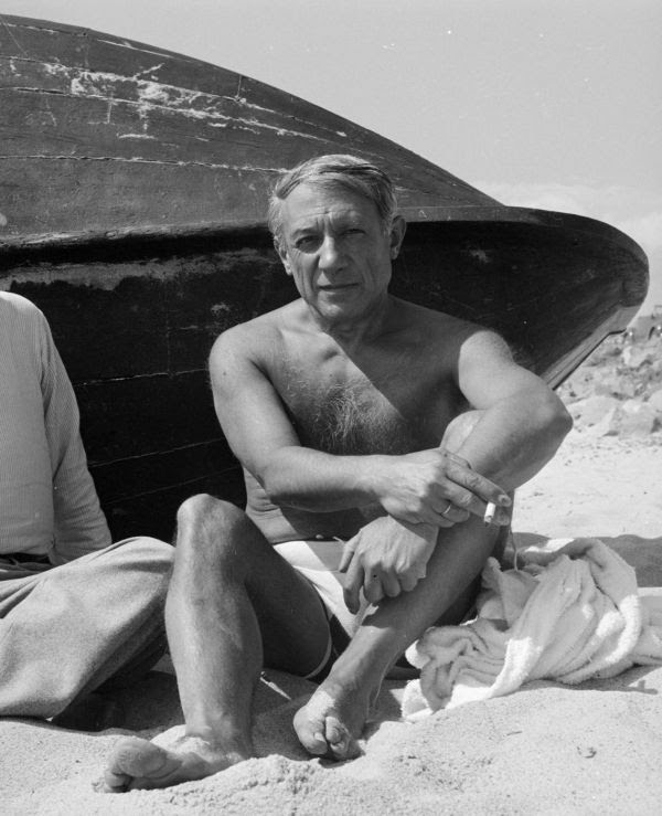 Photograph of Pablo Picasso on the beach by Eileen Agar 1899–1991