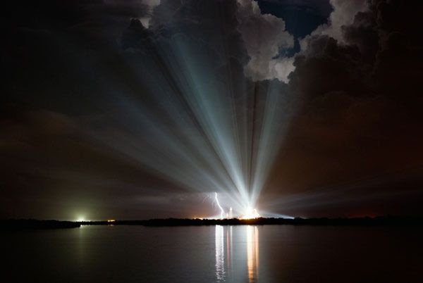 Xenon lights illuminate Launch Complex 39A at NASA's Kennedy Space Center, on August 24, 2009 (Pacific Time).