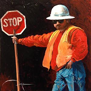 """Slow Down, Big Guy! by Duke Windsor Acrylic ~ 10"""" x 10"""""""