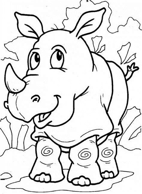 cute  printable rhino coloring pages