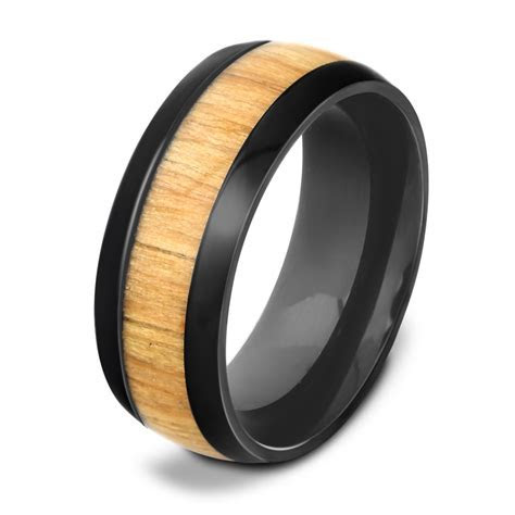 View Full Gallery of Lovely Mens Wood Inlay Wedding Rings
