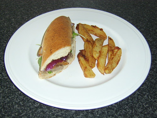 Steak Rocket and Red Onion Sandwich with Real Chips