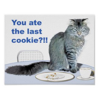 Cat and Empty Cookie Plate Poster