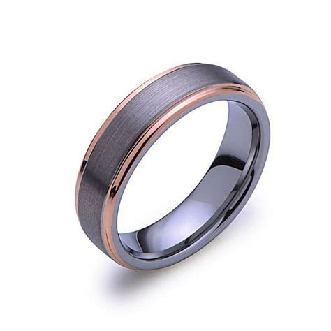 Rose Gold Tungsten Wedding Band   Gray Brushed Ring   Rose