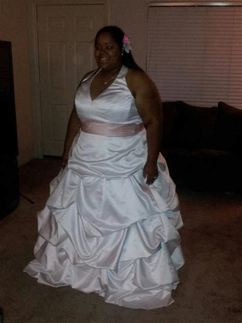 David's Bridal Satin Halter Ball Gown With Pick up Skirt