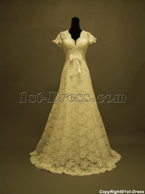 Short Lace Wedding Dress with Sleeves Vintage Inspired:1st