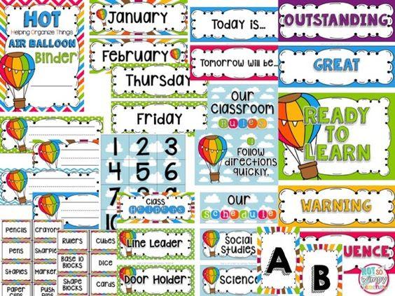 Hot Air Balloon EDITABLE Classroom Theme Decor   Colors, Classroom ...