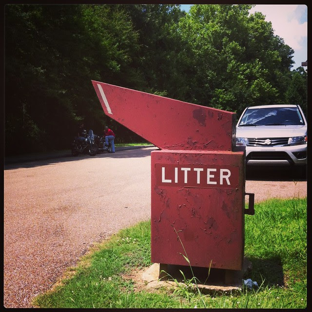 drive through garbage can, natchez trace parkway