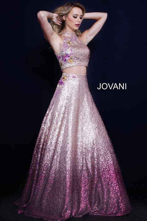 Jovani 54471 Ombre Sequin 2 Piece Prom Gown: French Novelty