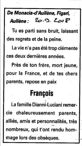 Décès Diani François