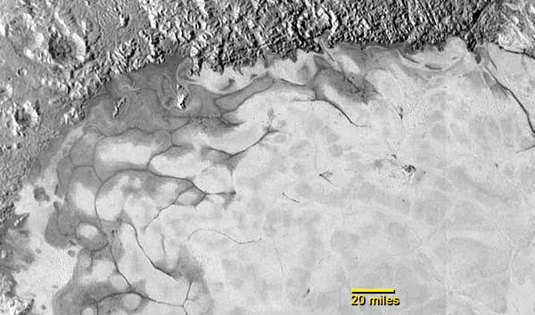 An image of ice flows in the northern region of Sputnik  Planum on the surface of Pluto, as seen by NASA's New Horizons spacecraft on July 14, 2015.