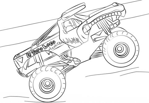 Dibujo De El Toro Loco Monster Truck Para Colorear Dibujos Para