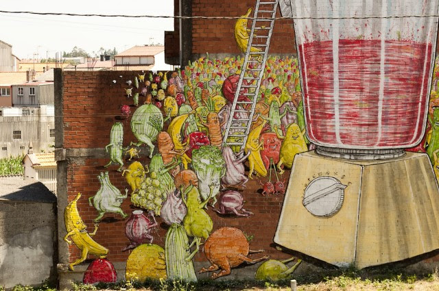 Blu Mural in Spain Celebrates Vegetarianism street art Spain murals food