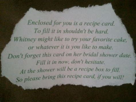 Bridal Shower Recipe Card Wording   the wording for the