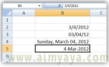 Gambar: Contoh berbagai format tanggal di Microsoft Excel