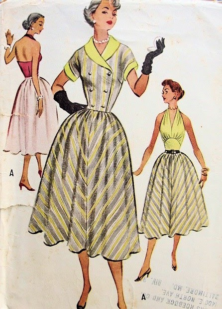 1950s BEAUTIFUL MARILYN MONROE STYLE HALTER TOP DRESS, SHORTIE JACKET PATTERN McCALLS PATTERNS 9333