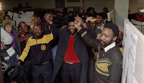 Former leader of the National Union of Mineworkers and Secretary General of COSATU, Cyril Ramaphosa, in 1987 in the aftermath of the largest miners' strike in apartheid South Africa. Ramaphosa is now a businessman with interests in mining. by Pan-African News Wire File Photos