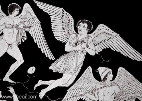 Boreads chasing Harpies | Apulian red-figure amphora C4th B.C. | Jatta National Archaeological Museum