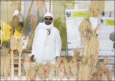 Prakash Singh at an exhibition in New Delhi.