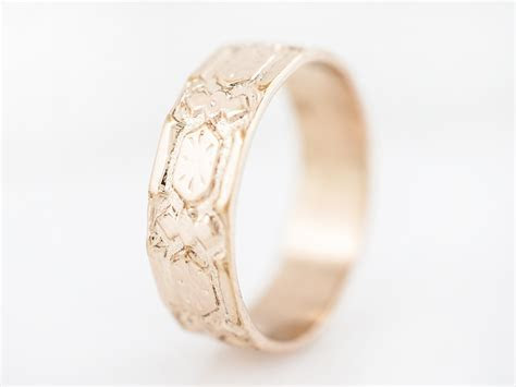 Antique Wedding Band Victorian Geometric in 18k Rose Gold